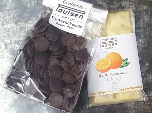 Weiß Orange / Trinkschokolade 85% Testpaket